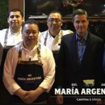 Reaparece Peña Nieto en Metepec; cenó un 'Short Rib horneado 24 horas'