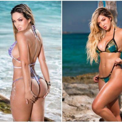 Posa modelo colombiana Ita Gómez en playas de la Riviera Maya