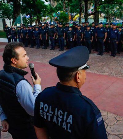Encabeza Pedro Joaquín pase de lista a policías de Cozumel y anuncia mejores condiciones laborales