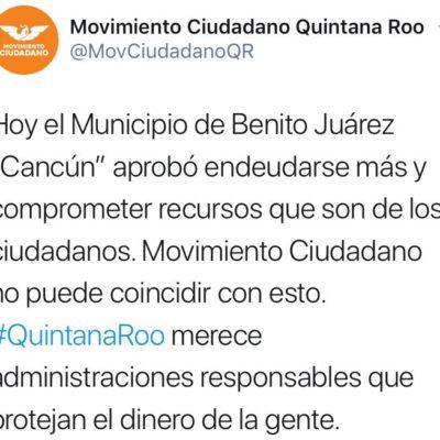 """""""QUIEREN ENGAÑARNOS CON UNA MENOR TASA DE INTERÉS"""": Cuestiona Movimiento Ciudadano refinanciamiento de la deuda de Benito Juárez"""