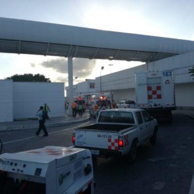 Realizan simulacro de incendio en aeronave del Aeropuerto Internacional de Cancún