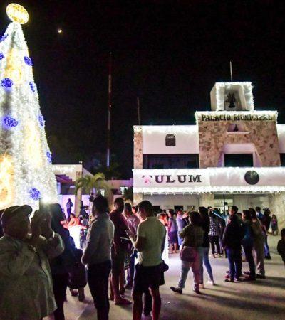 Encabeza Alcalde el encendido del árbol navideño e iluminación de la avenida principal de Tulum