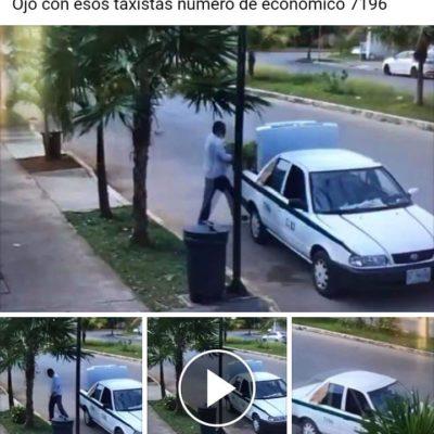 LO QUE FALTABA…: Sorprende cámara de vigilancia a un taxista 'robamacetas' en las calles de Cancún