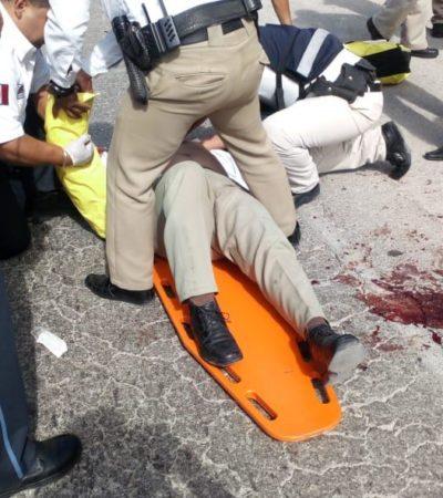 TRÁGICO ACCIDENTE DE UNIFORMADOS: Un agente de Tránsito murió y otro quedó herido al ser atropellados por un autobús en el bulevar Colosio de Cancún