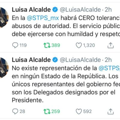 """""""Gobierno de AMLO no tolerará abuso de autoridad"""", dice Luisa Alcalde sobre actuación de subdelegado del Trabajo"""