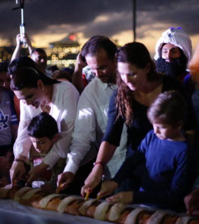 Más de mil habitantes de Cozumel disfrutaron de la mega Rosca de Reyes