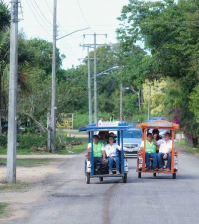 Gobierno de Puerto Morelos impulsa la instalación de luminarias en Leona Vicario