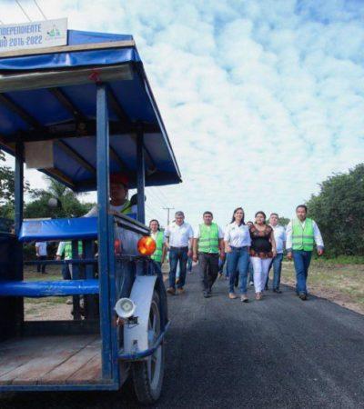 Gobierno de Puerto Morelos construye ciclovía en Leona Vicario