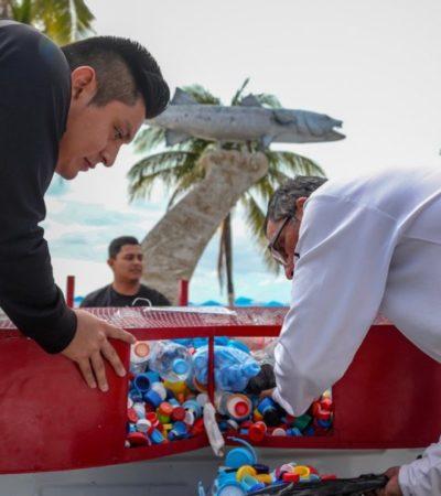La Zofemat mantiene las playas libres de basuray apoya a niños y jóvenes con cáncer a través de la recolección de tapitas de plástico en Isla Mujeres