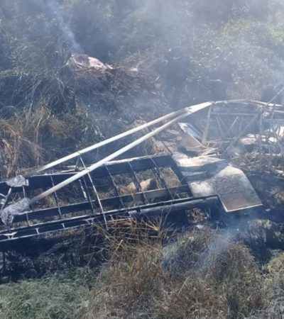Se desploma avioneta en Huixtla, Chiapas; piloto grave por quemaduras de tercer grado