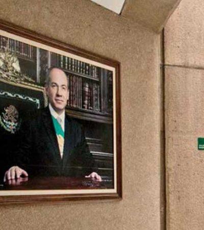 Desaparecen fotografía de Felipe Calderón del 'retablo' panista; Mouriño con busto de bronce, pero en el olvido