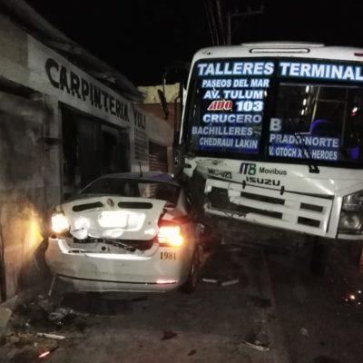 Aparatoso choque deja cinco lesionados en Cancún