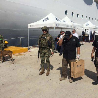 Hallan en Cozumel seis paquetes con droga en crucero procedente de Islas Caimán