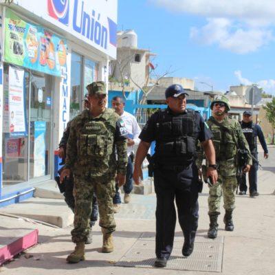 Refuerza Seguridad Pública presencia en calles de Solidaridad con el apoyo de fuerzas federales