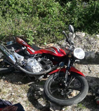 TERMINÓ CONTRA EL PAVIMENTO SU LOCA CARRERA: Sobrevive motociclista a accidente a más de 100 kph