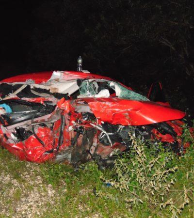 TRAGEDIA EN LA ZONA MAYA: Saldo de dos muertos al chocar auto contra trailer estacionado en FCP