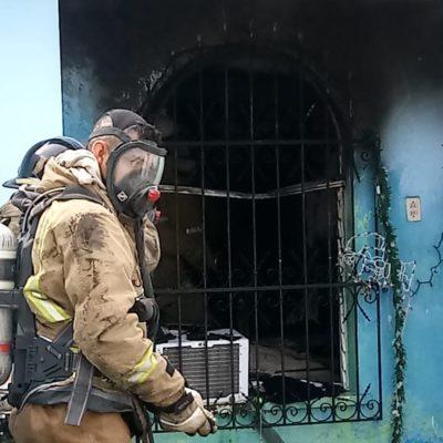 Salen ilesos dos menores de un incendio en Chetumal