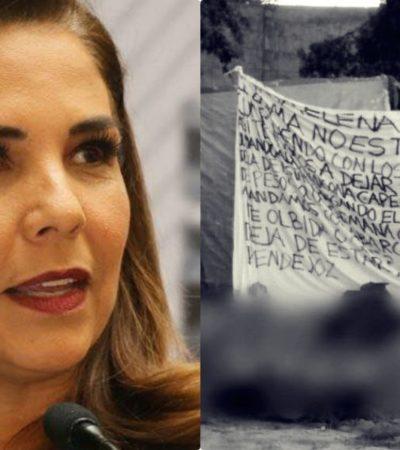 """""""LA GENTE MALA NOS QUIERE HACER DAÑO"""": Tras aparición de narcomanta con su nombre, Alcaldesa rechaza vínculos con delincuentes y dice que confía en Capella"""