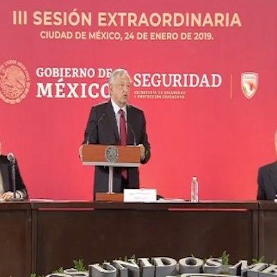 Instala AMLO el Consejo Nacional de Seguridad Pública con la participación de los gobernadores