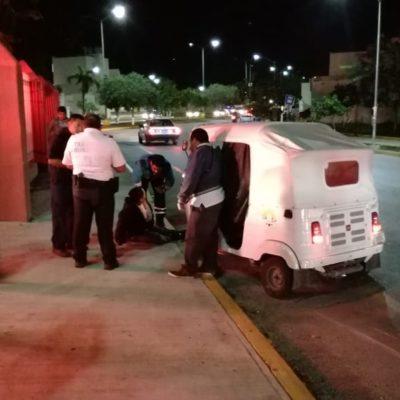 Mujer es aplastada por mototaxi y se fractura la pierna en Villas del Sol de Playa del Carmen