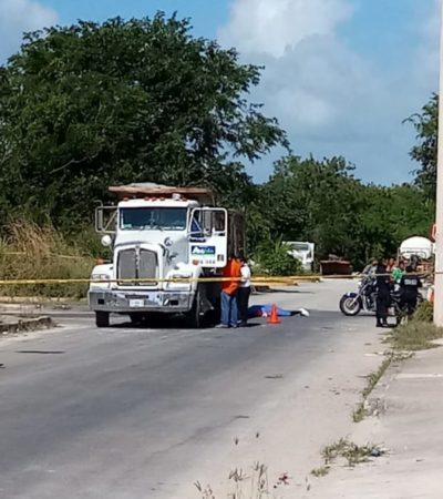 Motociclista de Chetumal muere arrollado por volquete