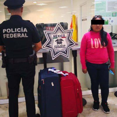 Detienen a mujer con 12 kilos de cocaína en el aeropuerto de Cancún