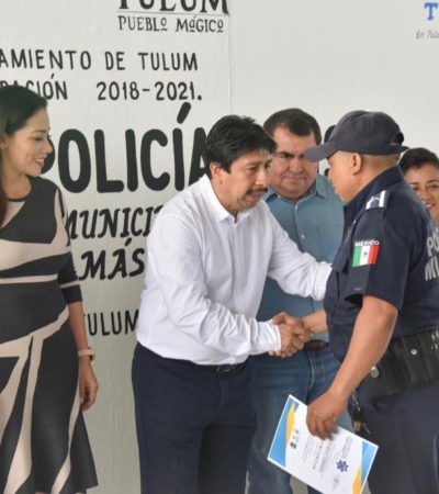 DAN BONO A POLICÍAS DE TULUM: Celebran a uniformados y asegura Alcalde que está garantizada la seguridad de ciudadanos y turistas