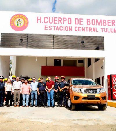 Entregan vehículo donado por empresario a bomberos para mejor atención en emergencias en Tulum