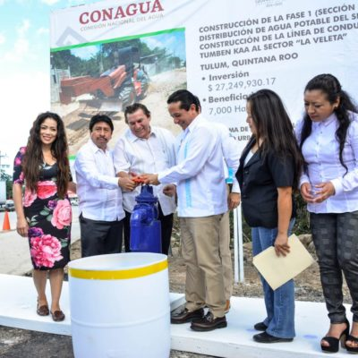 Inauguran Red de Distribución de Agua Potable en la colonia 'La Veleta' de Tulum
