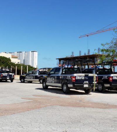 Movilización policiaca ante reporte de 'alboroto' en una obra en construcción en SM 15 de Cancún