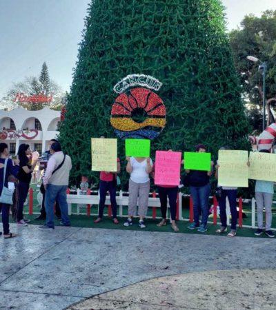 Protestan en el Ayuntamiento de BJ para exigir castigo contra un padrastro acusado de violar a dos niñas de 8 y 10 años
