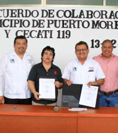 Gobierno de Puerto Morelos firma convenio con el Cecati 119, para ofrecer capacitación a la ciudadanía y a servidores públicos