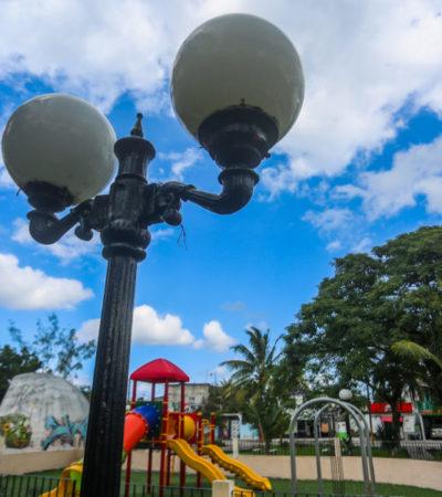 Gobierno de Cozumel dota de iluminación a 13 parques de la isla para el disfrute y seguridad de habitantes