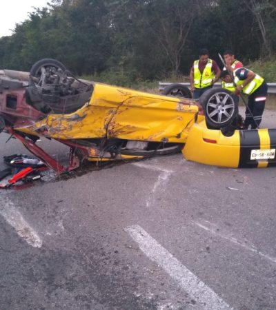 Aparatoso accidente en Bacalar deja cuatro heridos