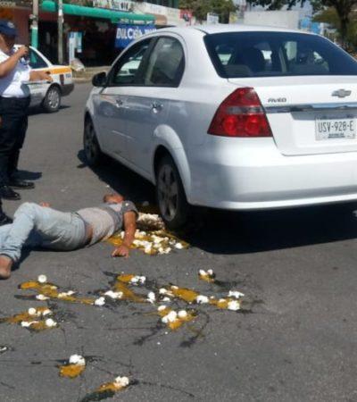 Hombre asegura que automovilista lo atropelló, pero la Policía Estatal no le cree y lo retira del lugar