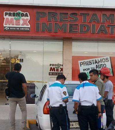 Asaltan casa de empeño y hieren al guardia de seguridad en Chetumal