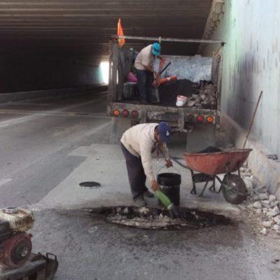 Surge bache en el puente de Bonfil que pone en riesgo a los automovilistas