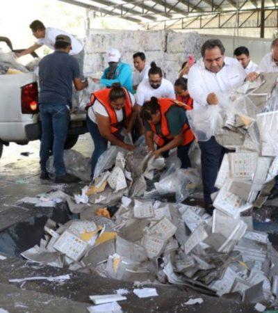 Inicia destrucción de 50 toneladas de papelería electoral en Yucatán