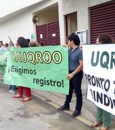 Realizan académicos y personal administrativo de la Uqroo manifestación en Chetumal en espera de fallo favorable a su demanda de amparo para constituirse en sindicato