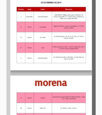 El partido Morena convoca a asambleas distritales el próximo 25 de febrero