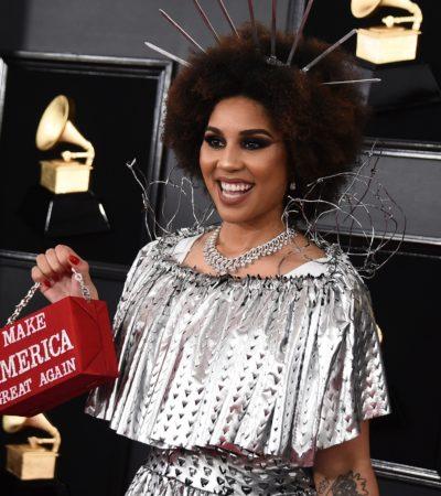 Joy Villa llega a los Grammy con vestido del muro de Trump… su madre es afroamericana y su padre argentino