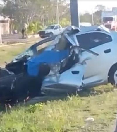 Fallece prensado en la Mérida-Campeche; al parecer se impactó con la parte trasera de un tráiler que siguió su camino