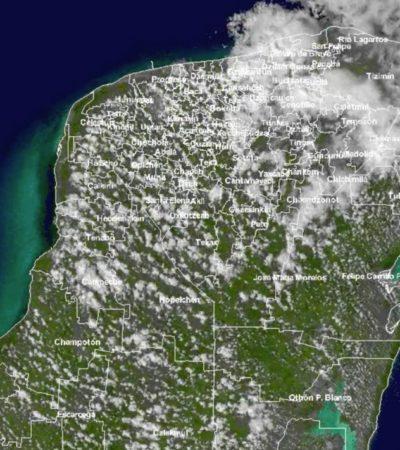 Vaguada y frente frío causan tormentas en la Península de Yucatán