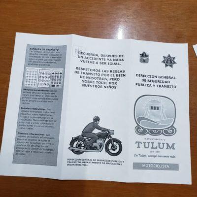 Tránsito Municipal concientiza a motociclistas para evitar accidentes en Tulum
