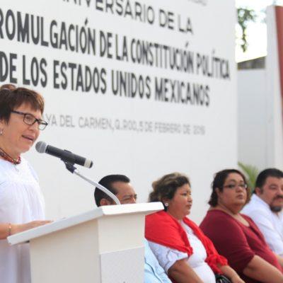 En el aniversario de la promulgación de la Constitución, Alcaldesa Laura Beristaín manda un mensaje de paz a través del diálogo