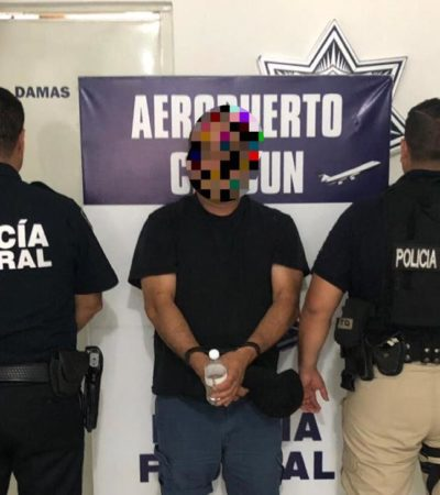 Detienen a fugitivo de EU en aeropuerto de Cancún