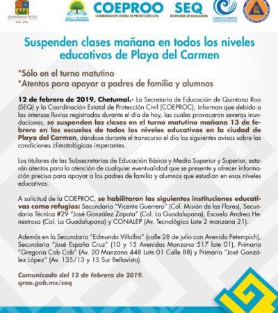 Por lluvias e inundaciones provocadas por frente frío, suspenden clases en todos los niveles de educación en Playa del Carmen