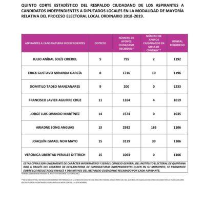 Perfilados 5 ciudadanos para competir como candidatos independientes para una diputación