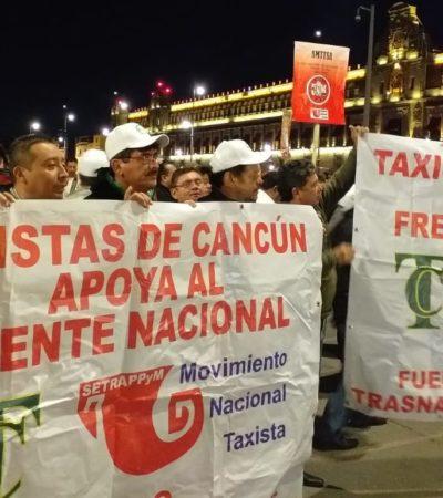 TAXISTAS SE UNEN CONTRA UBER Y OTROS EN EL ZÓCALO: Viajan cancunenses a protesta nacional en CDMX contra aplicaciones móviles