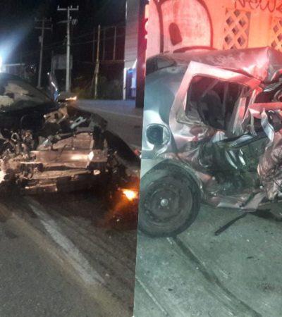 LA LIBRA MARIO MACHUCA: Aparatoso accidente en el bulevar Colosio de Cancún al chocar auto contra camioneta de ex diputado federal